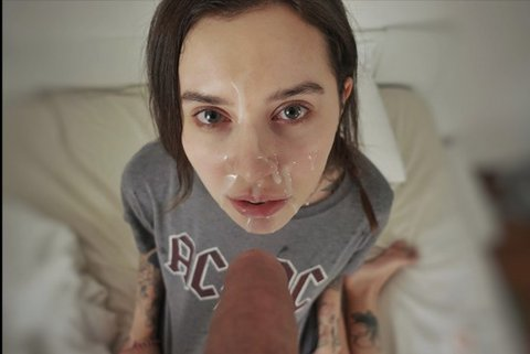 Cock In Her Mouth And Cum On Her Face!